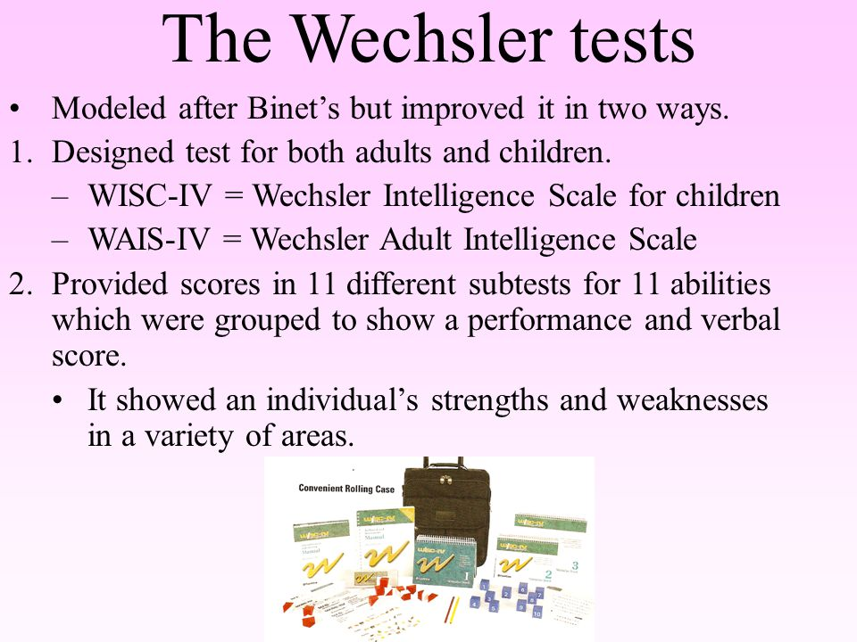 individual and group test of intelligence Individual versus group intelligence tests there are two major types of intelligence test, those administered to individuals and those administered to groups the two main individual intelligence tests are the stanford-binet intelligence test and the wechsler tests, ie wechsler intelligence test for children (wisc) and the wechsler adult.