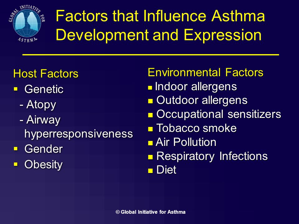 environmental factors and asthma Asthma risk factors  allergy-associated asthma environmental exposure in sensitized individuals is a major inducer of airway inflammation, which is a hallmark finding in the asthmatic lung although triggers induce inflammation through different pathways, the resulting effects all lead to increased bronchial reactivity.