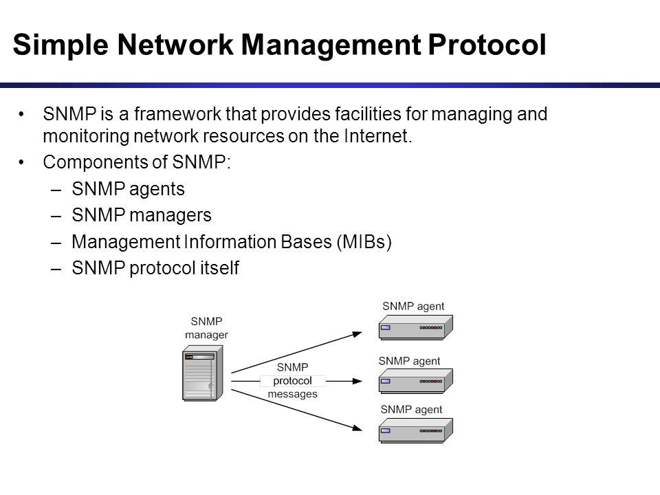 simple network management protocol snmp for mib Snmp (simple network management protocol) is a standard protocol  base ( mib) which is addressed by the snmp manager in order for it to.