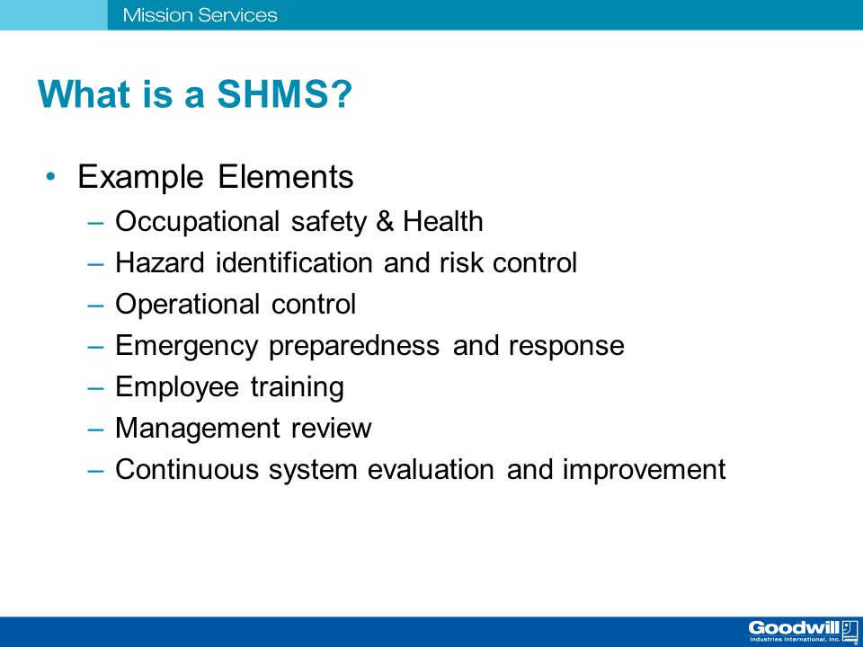 What is a SHMS Example Elements Occupational safety & Health
