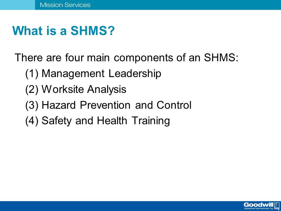 What is a SHMS There are four main components of an SHMS: