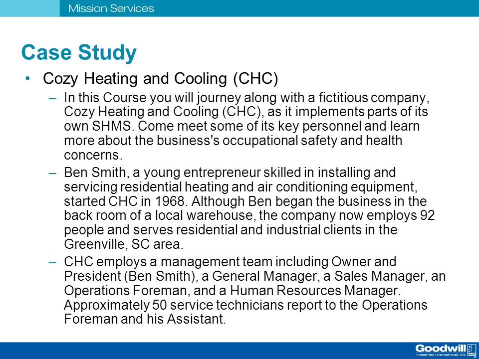 Case Study Cozy Heating and Cooling (CHC)