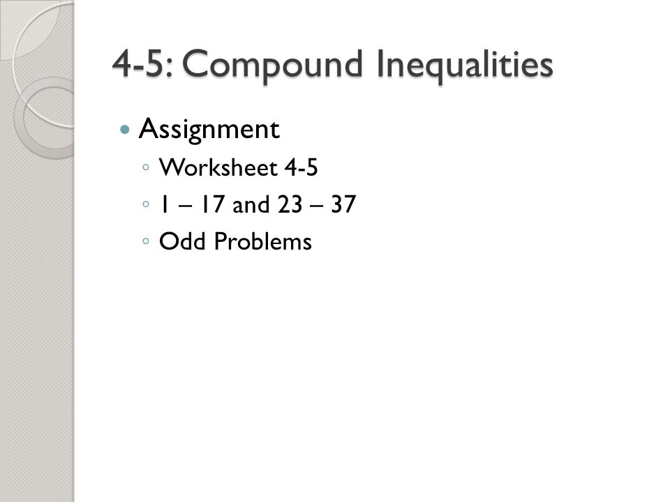 45 Compound Inequalities ppt video online download – Compound Inequalities Worksheet