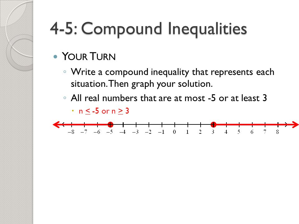 write an inequality solution