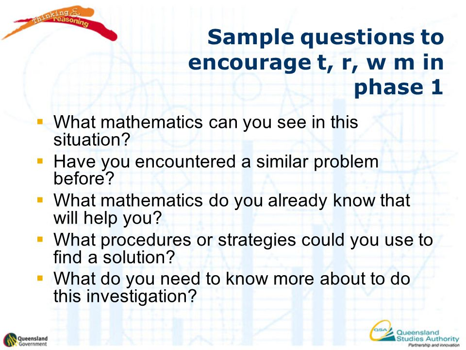 Sample questions to encourage t, r, w m in phase 1