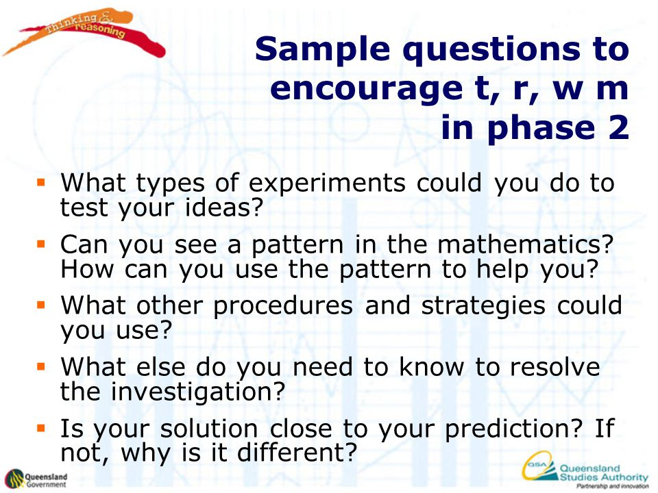 Sample questions to encourage t, r, w m in phase 2