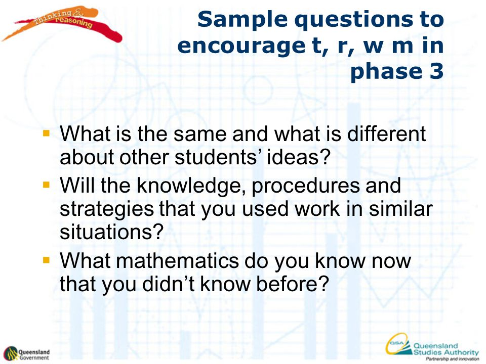 Sample questions to encourage t, r, w m in phase 3