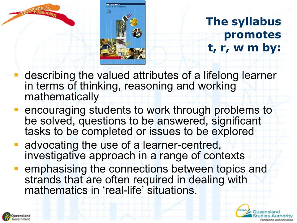 The syllabus promotes t, r, w m by: