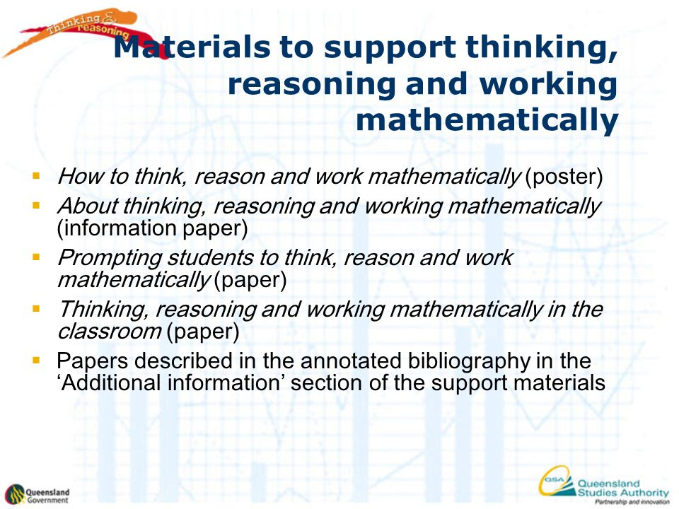 Materials to support thinking, reasoning and working mathematically