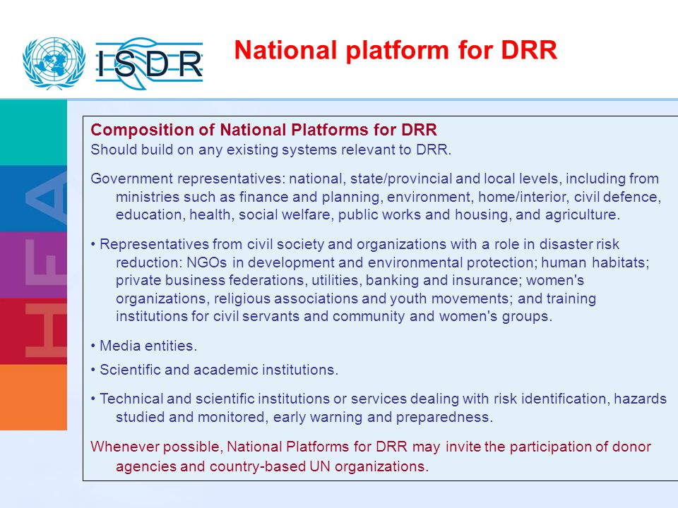 National platform for DRR