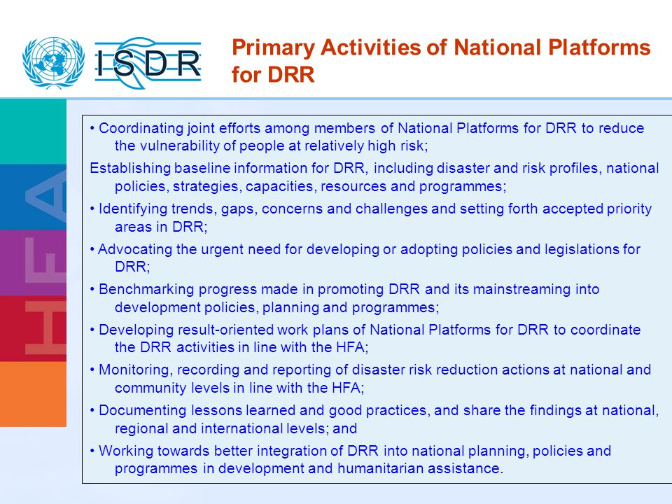 Primary Activities of National Platforms for DRR
