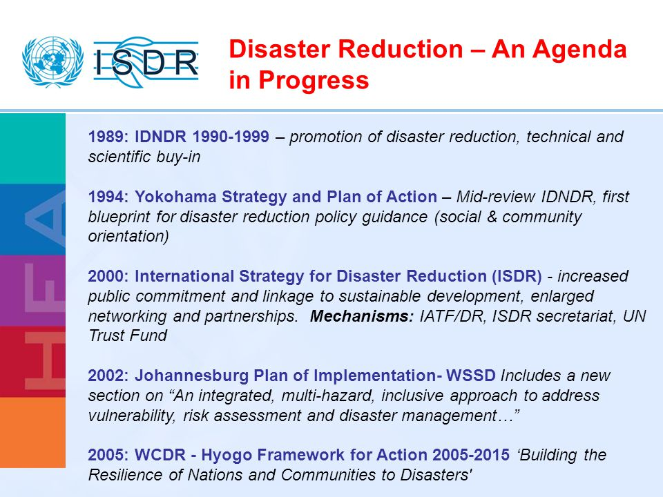 Disaster Reduction – An Agenda in Progress