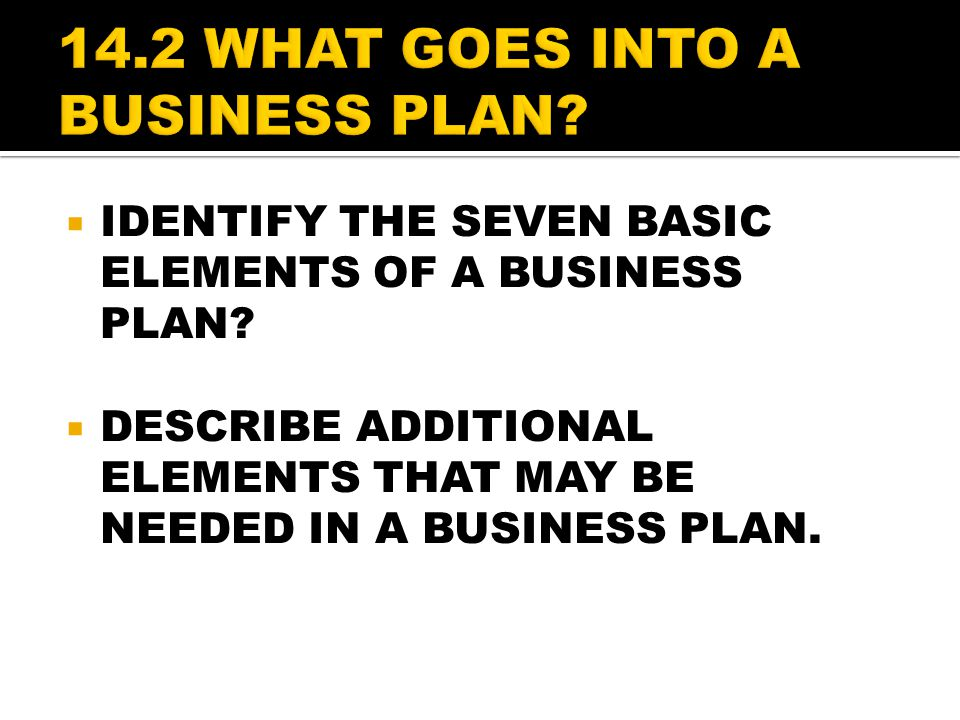 14.2 WHAT GOES INTO A BUSINESS PLAN