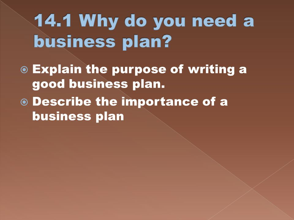 14.1 Why do you need a business plan