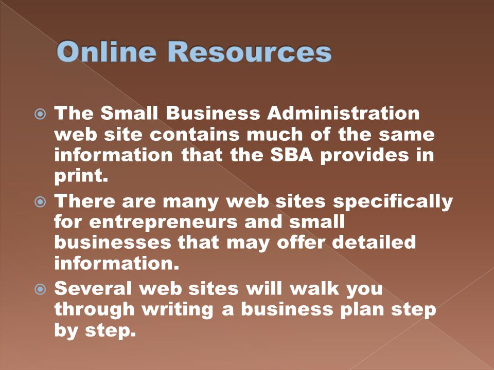 Online Resources The Small Business Administration web site contains much of the same information that the SBA provides in print.