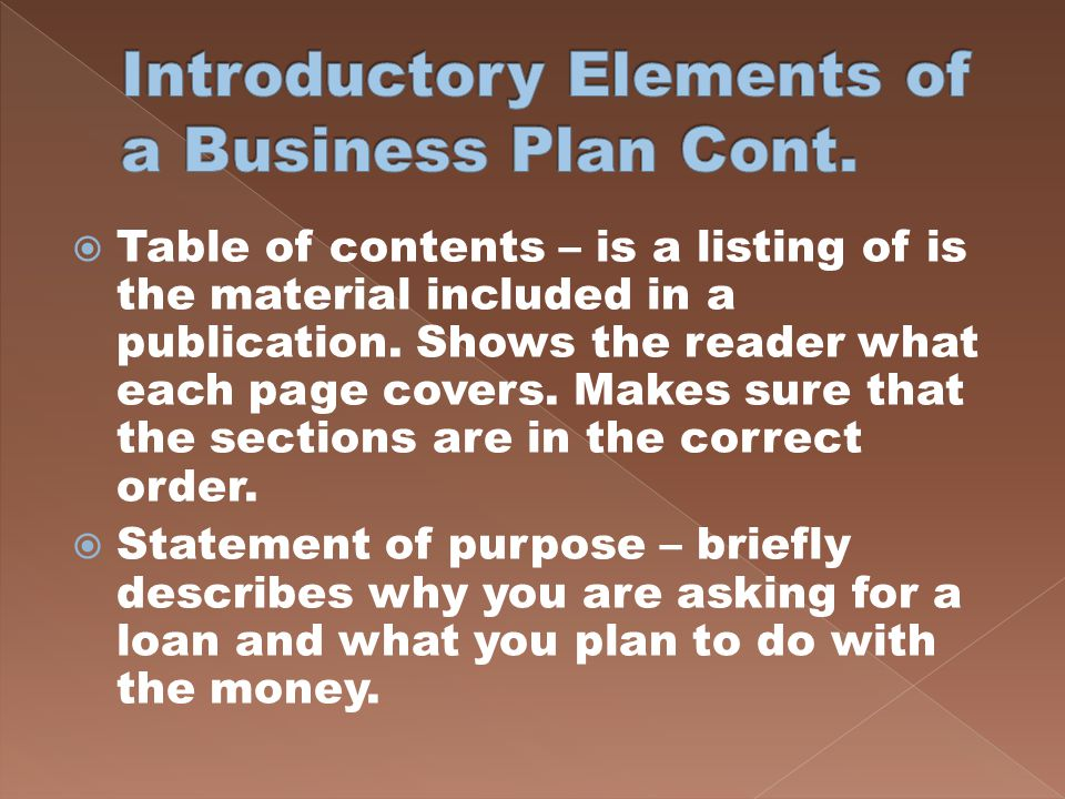 Introductory Elements of a Business Plan Cont.