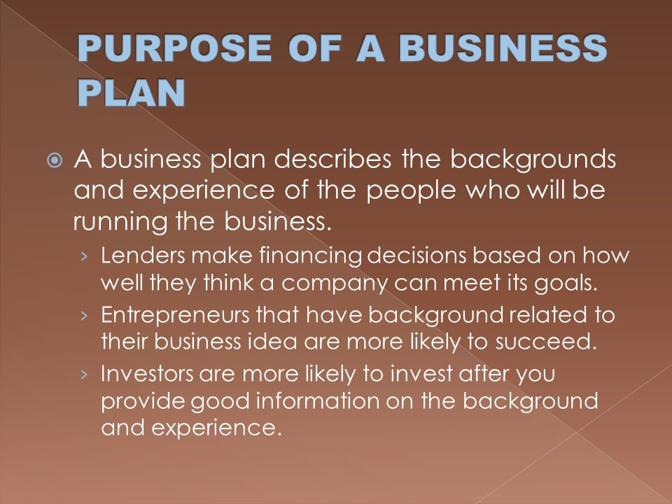 Main purposes of a business plan