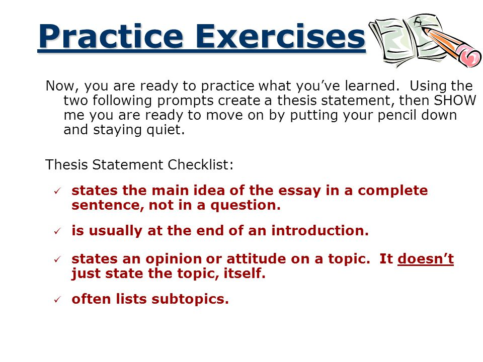 essay exercises a road map for your essay ppt