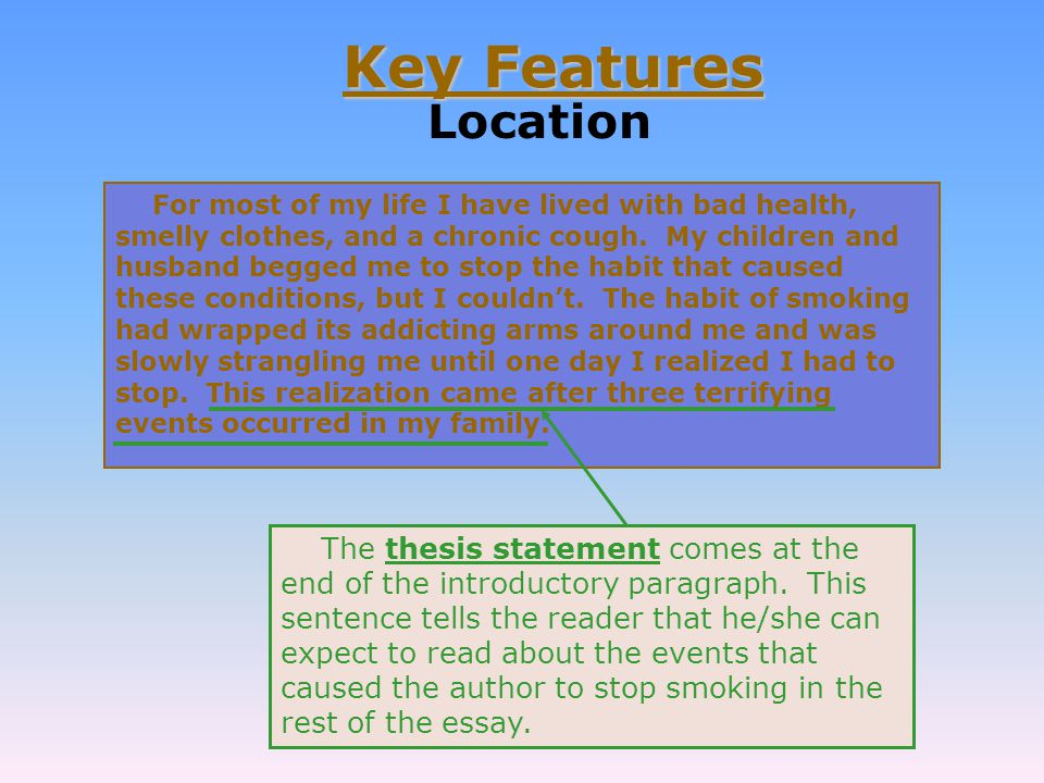 the key features of a descriptive essay You can organize a descriptive essay in one of many organizational patterns this exercise will help you decide upon the best structure for your essay.
