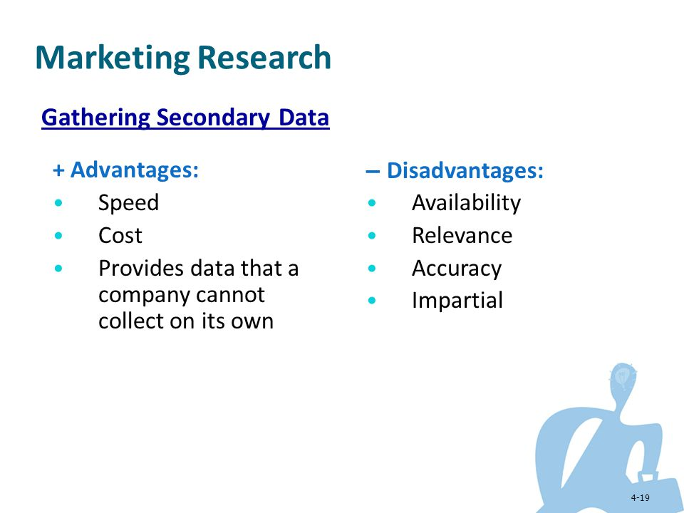 Marketing Research Gathering Secondary Data + Advantages: Speed Cost