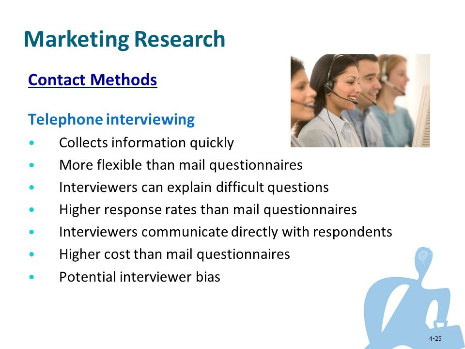 Marketing Research Contact Methods Telephone interviewing