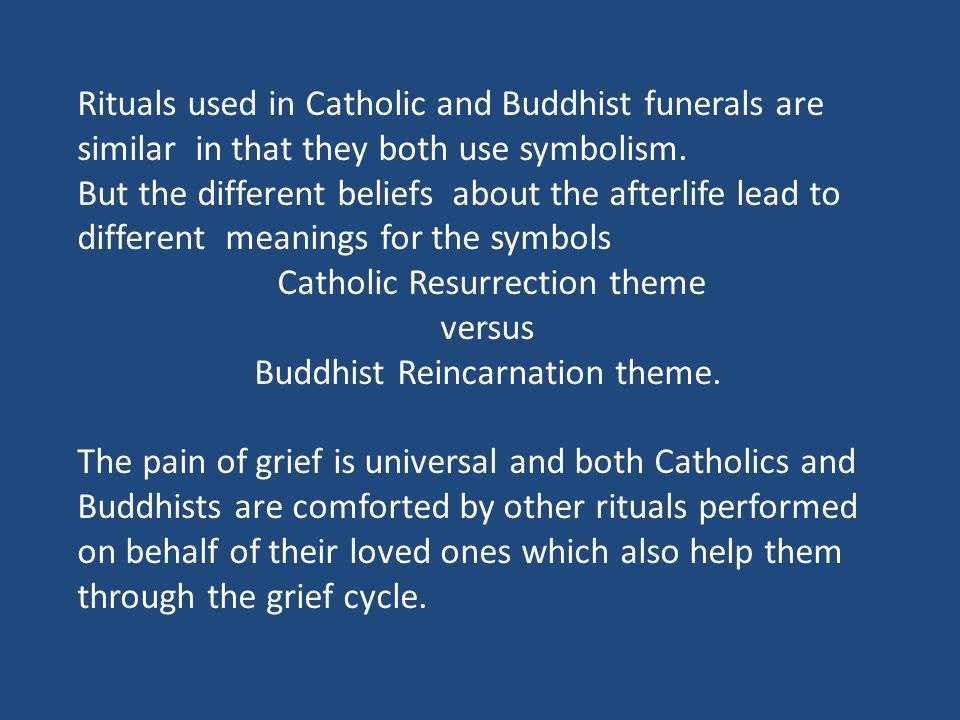 Catholic Resurrection theme versus Buddhist Reincarnation theme.