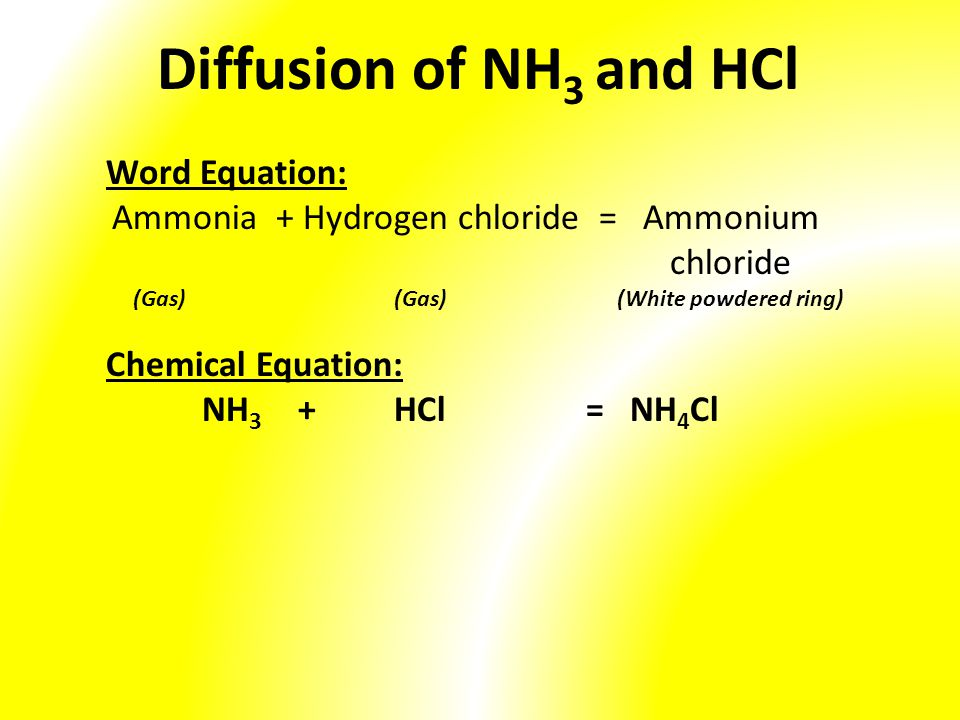 Ammonia + Hydrogen chloride = Ammonium chloride