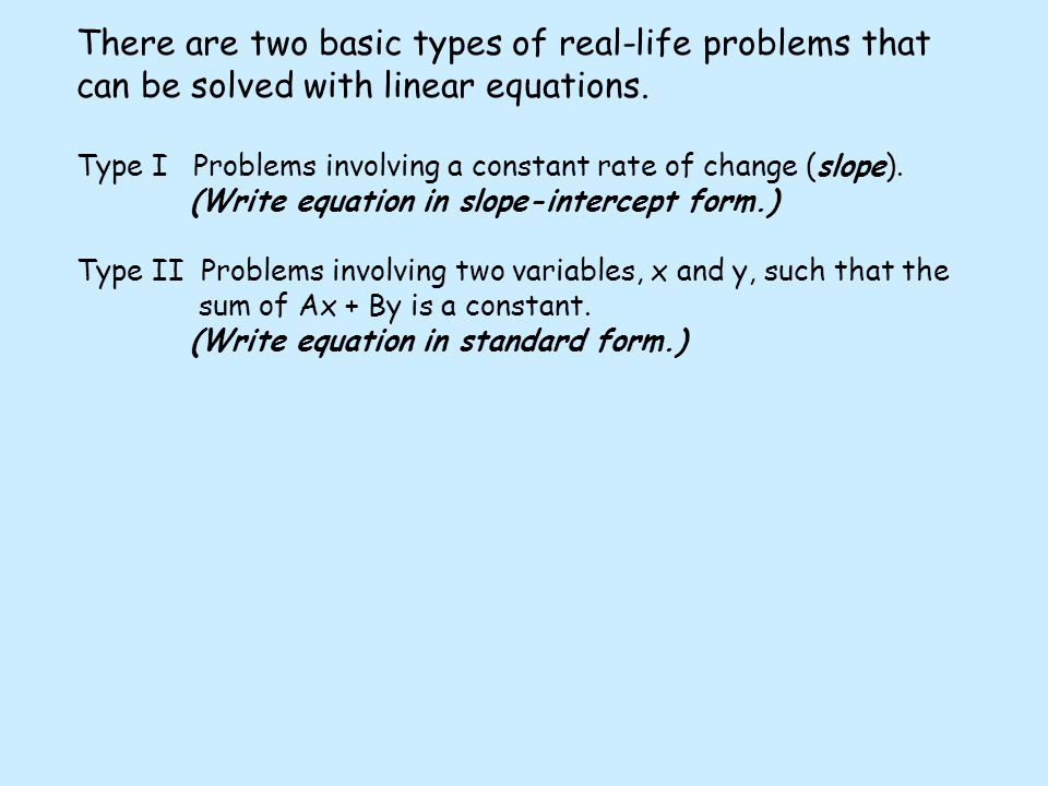 how to change a word problem into a linear equation