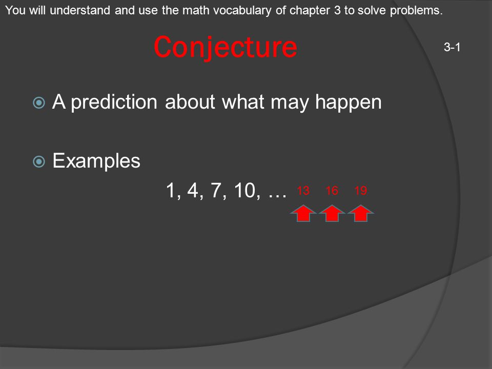 Conjecture A prediction about what may happen Examples 1, 4, 7, 10, …