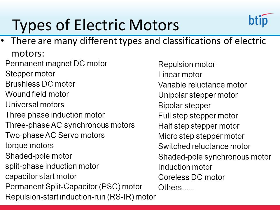 Dc motor and ac motor difference for Types of electric motors
