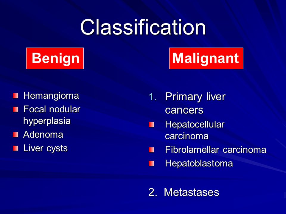 Classification Benign Malignant Primary liver cancers 2. Metastases