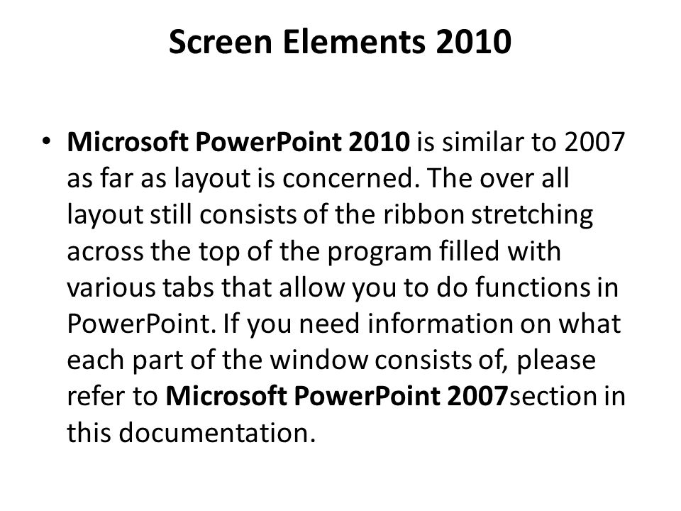 Screen Elements 2010