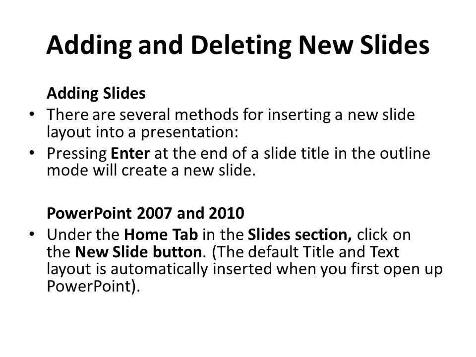 Adding and Deleting New Slides