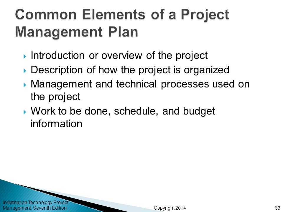 elements of project management In this lesson, learn what defines a project and what the elements of a project are this will serve as a high-level overview and introduction to.