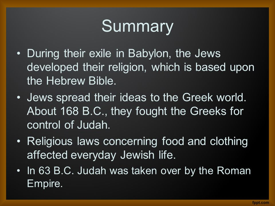 summary of judaism Judaism is the oldest living religion of the western world,  laying down in summary categorical form what the jewish obligations are.