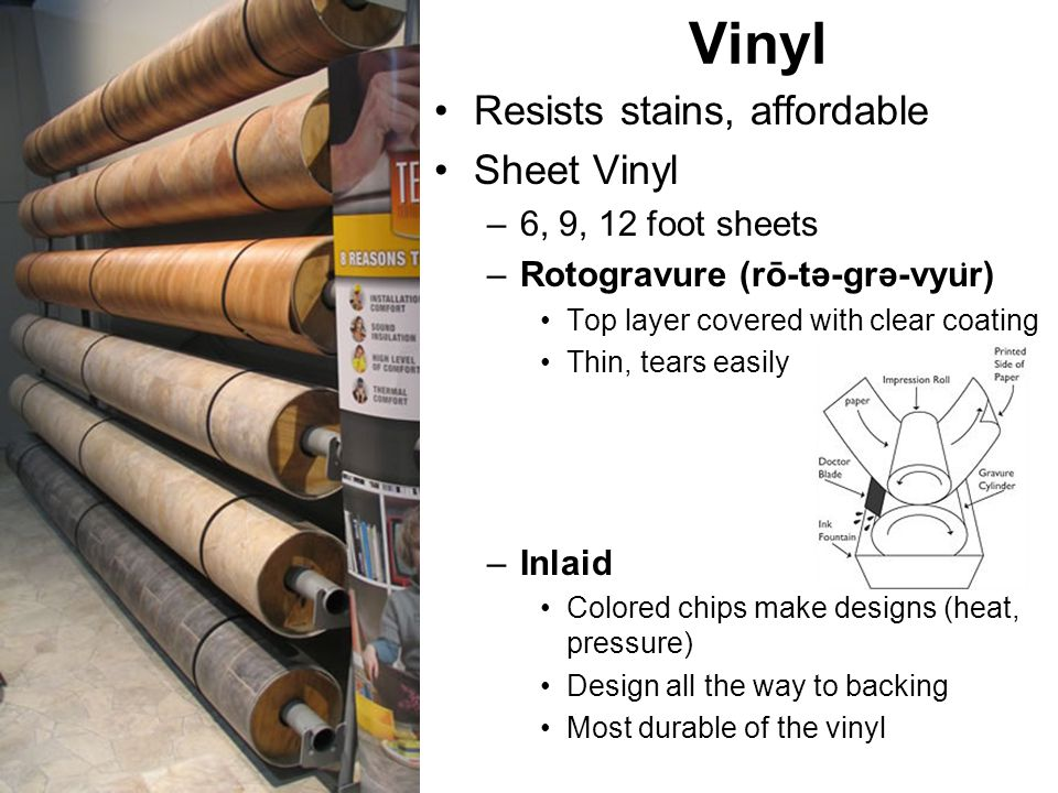 Vinyl Resists stains, affordable Sheet Vinyl 6, 9, 12 foot sheets