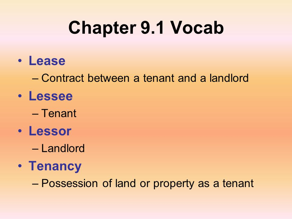 Chapter 9.1: Rental Agreements - Ppt Download