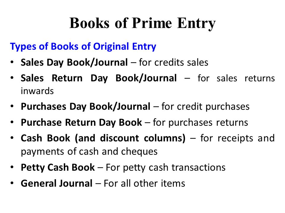 Accountancy/Books of Prime Entry
