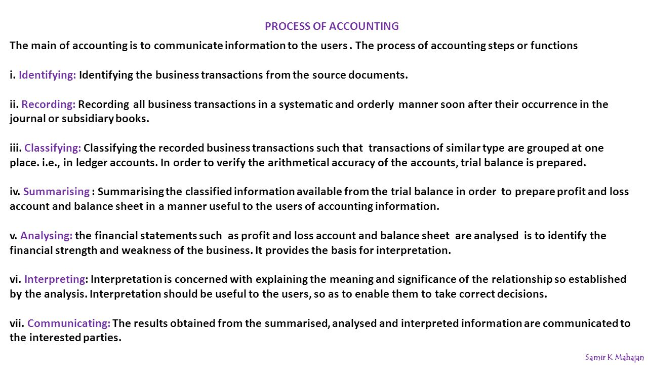 the process and functions of accounting