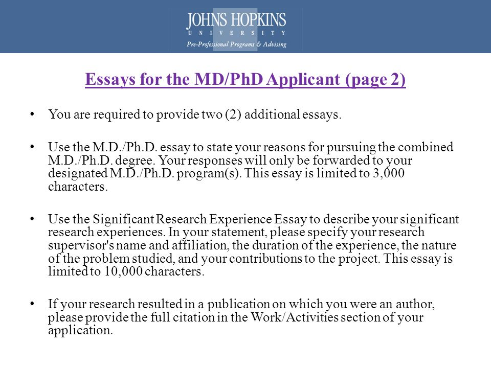 md phd research experience essay Research experience prior to applying what is substantial independent  research experience md/phd training is a significant investment of time,  energy, and.