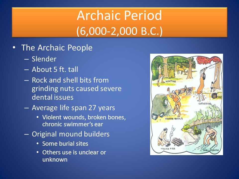 Archaic Period (6,000-2,000 B.C.) The Archaic People Slender