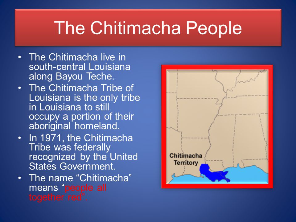 The Chitimacha People The Chitimacha live in south-central Louisiana along Bayou Teche.