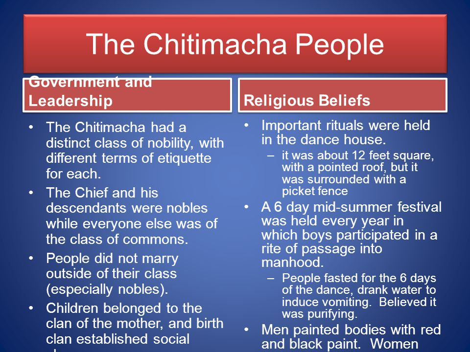 The Chitimacha People Government and Leadership Religious Beliefs