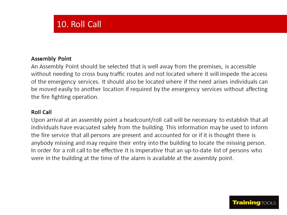 10. Roll Call Assembly Point