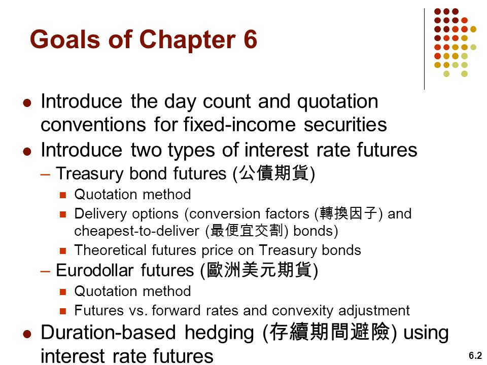 Goals of Chapter 6 Introduce the day count and quotation conventions for fixed-income securities. Introduce two types of interest rate futures.