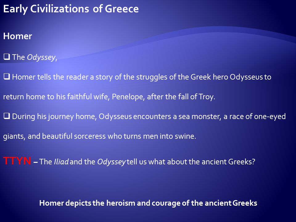 the courage of odysseus in the odyssey by homer The odyssey (/ ˈ ɒ d ə s i / greek: ὀδύσσεια odýsseia, pronounced [odýssejja] in classical attic) is one of two major ancient greek epic poems attributed to homer.