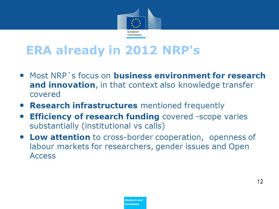 ERA already in 2012 NRP s Most NRP´s focus on business environment for research and innovation, in that context also knowledge transfer covered.