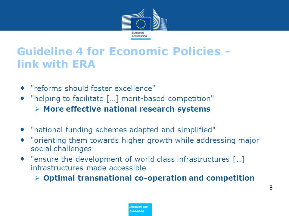 Guideline 4 for Economic Policies - link with ERA