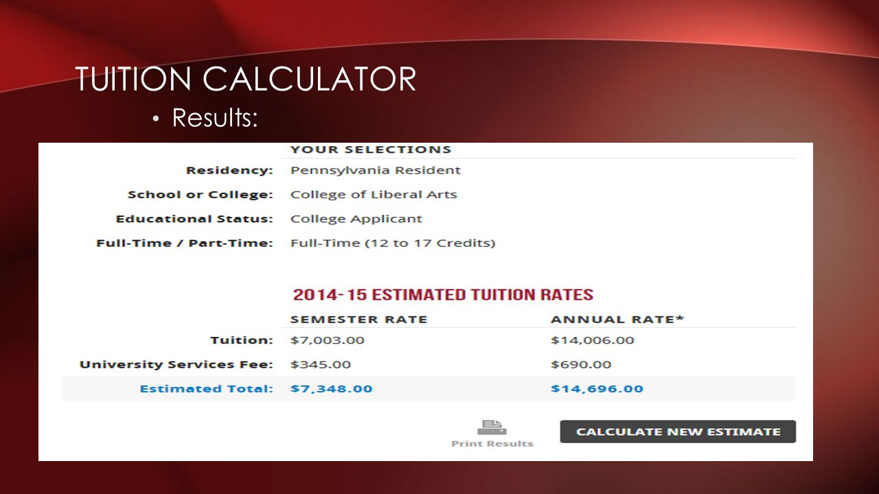 Tuition Calculator Results: