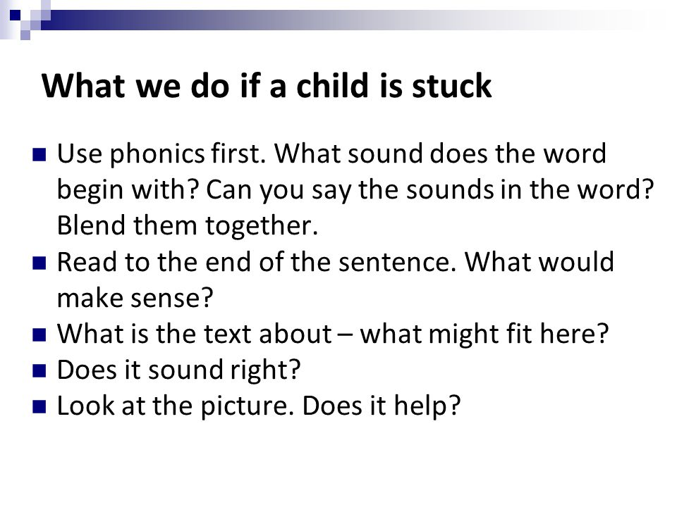 What we do if a child is stuck